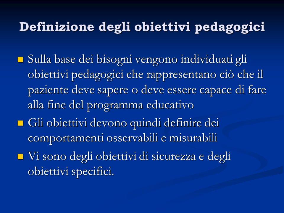 Definizione degli obiettivi pedagogici