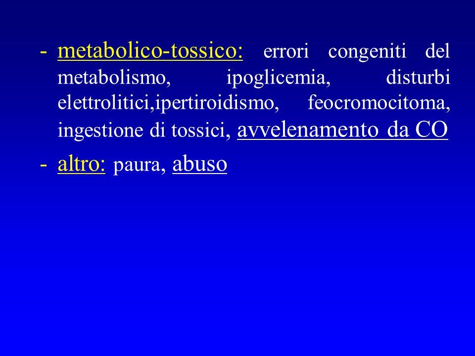 metabolico-tossico: errori congeniti del metabolismo, ipoglicemia, disturbi elettrolitici,ipertiroidismo, feocromocitoma, ingestione di tossici, avvelenamento da CO