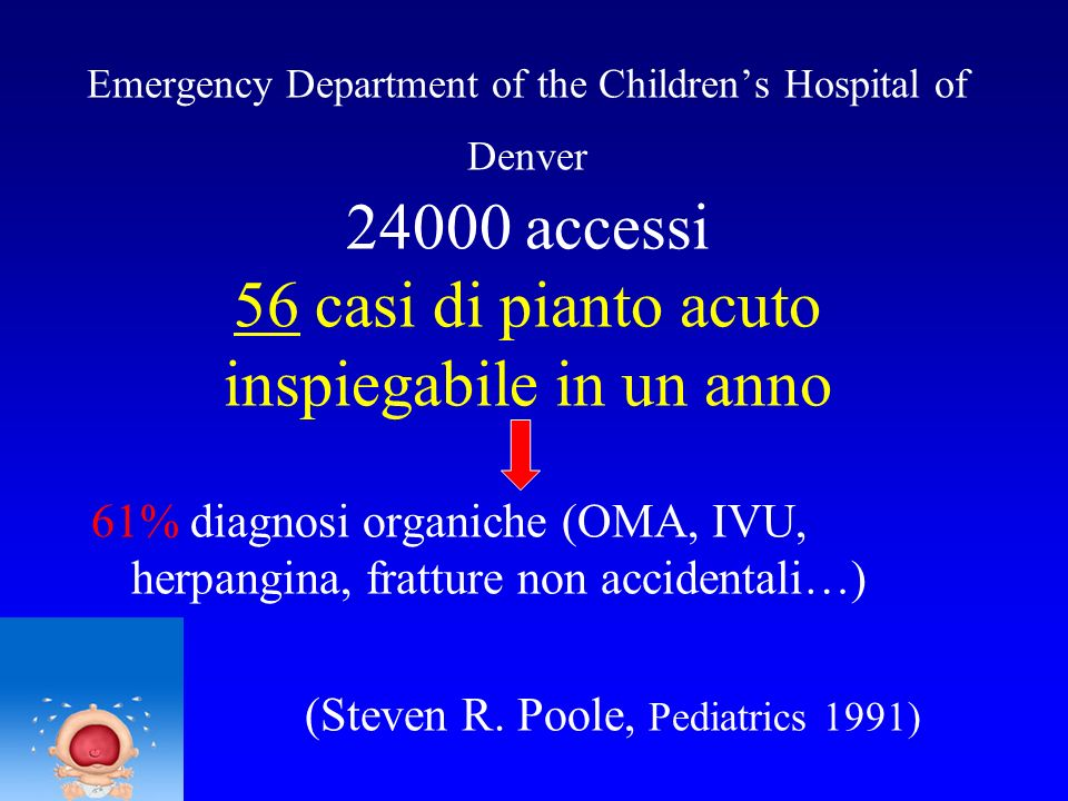 Emergency Department of the Children's Hospital of Denver 24000 accessi 56 casi di pianto acuto inspiegabile in un anno