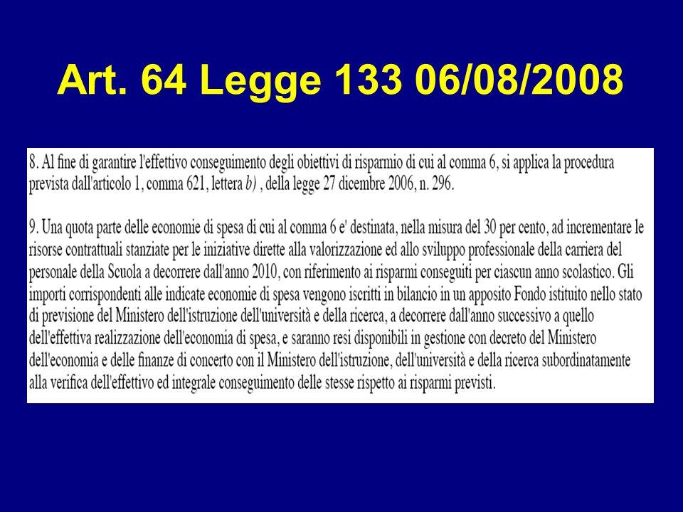 Art. 64 Legge 133 06/08/2008