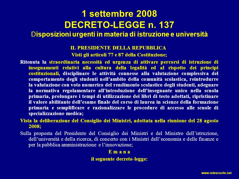 1 settembre 2008 DECRETO-LEGGE n