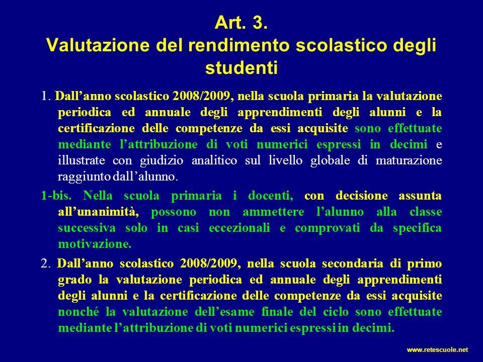 Art. 3. Valutazione del rendimento scolastico degli studenti