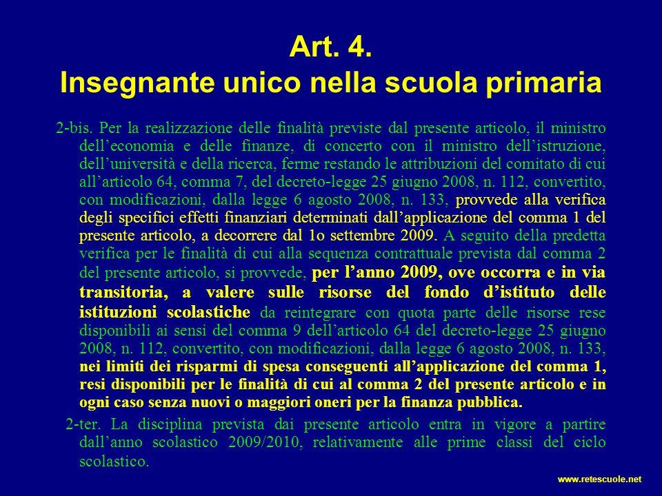 Art. 4. Insegnante unico nella scuola primaria