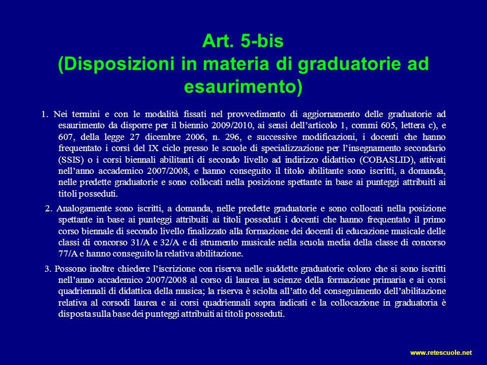 Art. 5-bis (Disposizioni in materia di graduatorie ad esaurimento)