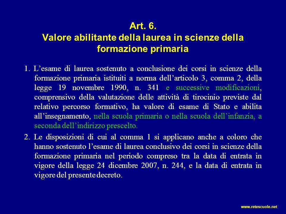Art. 6. Valore abilitante della laurea in scienze della formazione primaria