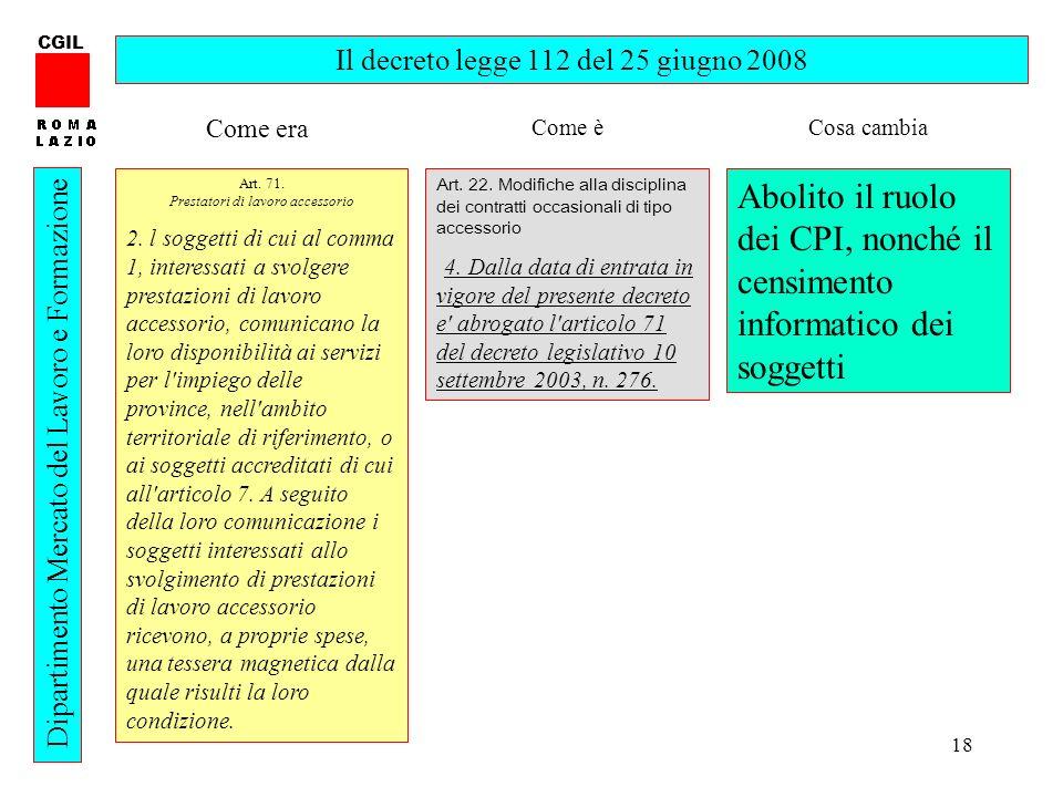 CGIL Il decreto legge 112 del 25 giugno 2008. Come era. Come è. Cosa cambia. Art. 71. Prestatori di lavoro accessorio.