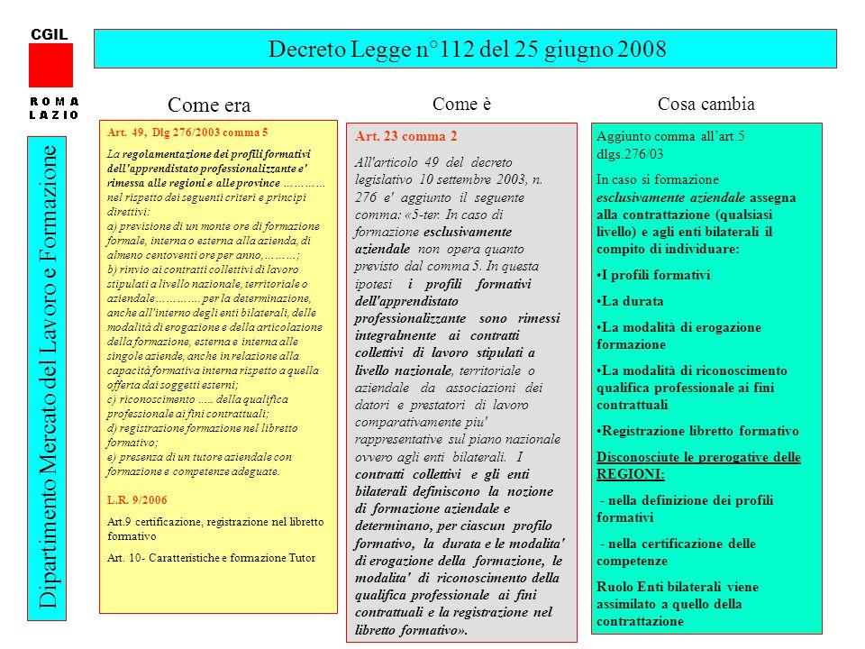 Decreto Legge n°112 del 25 giugno 2008