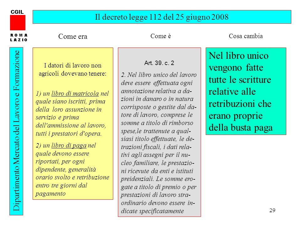 CGIL Il decreto legge 112 del 25 giugno 2008. Come era. Come è. Cosa cambia. I datori di lavoro non agricoli dovevano tenere: