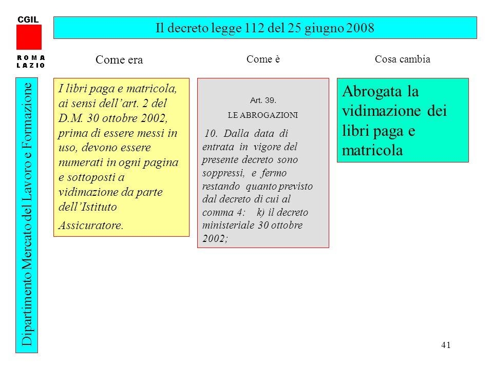 Il decreto legge 112 del 25 giugno 2008
