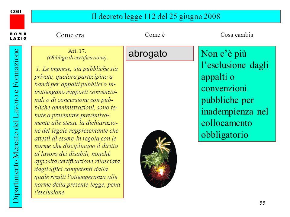 CGIL Il decreto legge 112 del 25 giugno 2008. Come era. Come è. Cosa cambia. Art. 17. (Obbligo di certificazione).