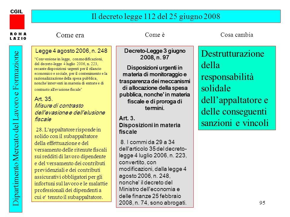 CGIL Il decreto legge 112 del 25 giugno 2008. Come era. Come è. Cosa cambia. Legge 4 agosto 2006, n. 248.