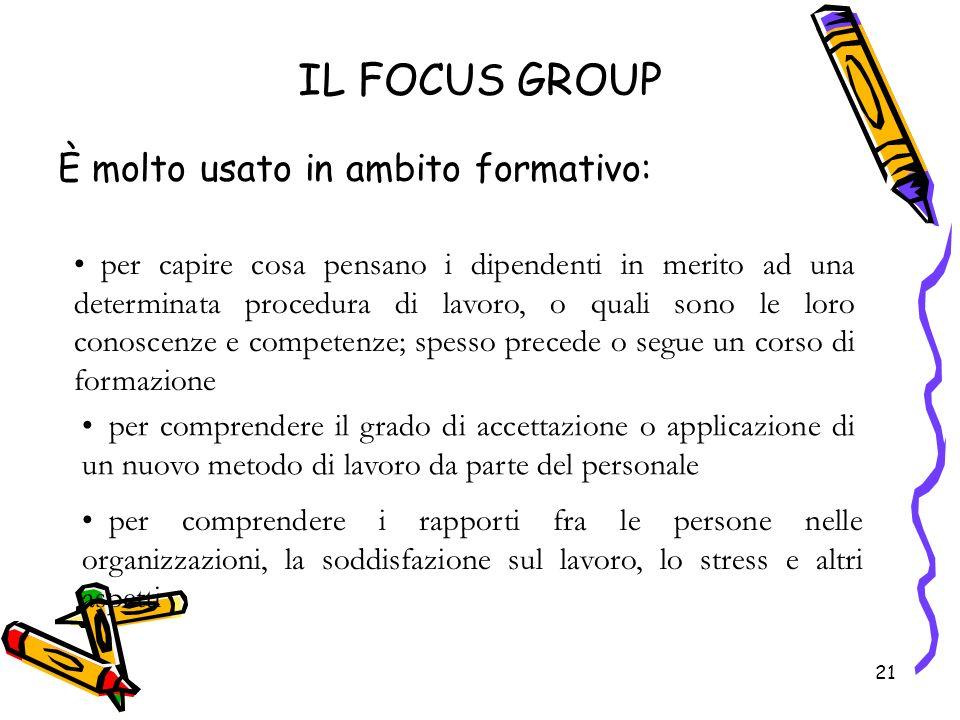 IL FOCUS GROUP È molto usato in ambito formativo: