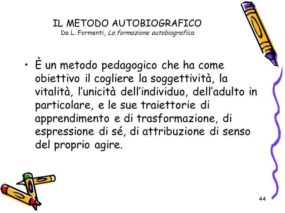 IL METODO AUTOBIOGRAFICO Da L. Formenti, La formazione autobiografica