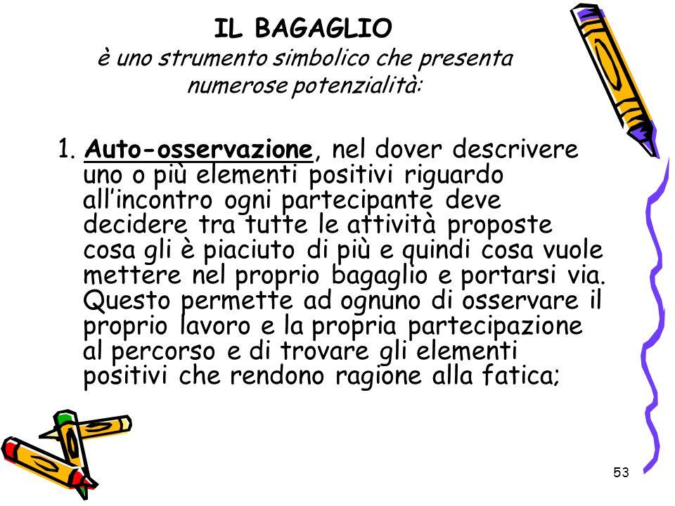 IL BAGAGLIO è uno strumento simbolico che presenta numerose potenzialità: