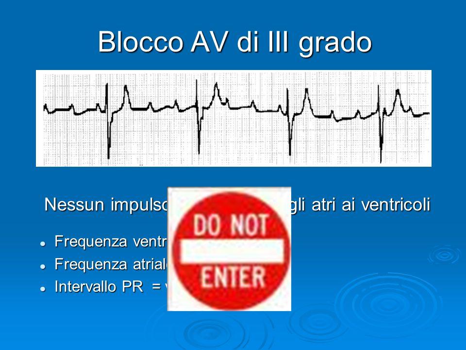 Nessun impulso è condotto dagli atri ai ventricoli