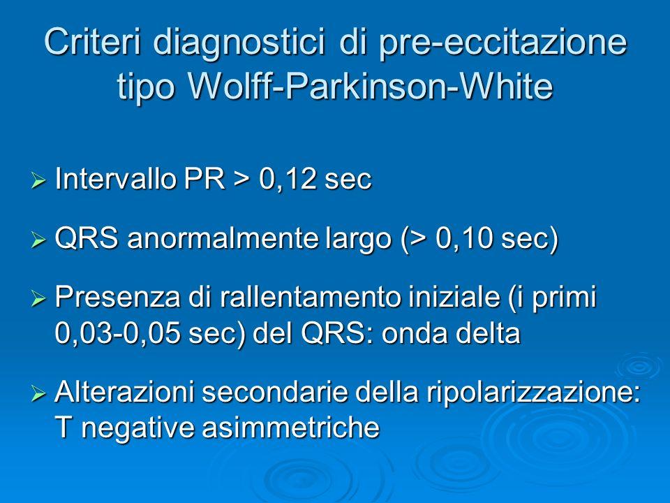 Criteri diagnostici di pre-eccitazione tipo Wolff-Parkinson-White