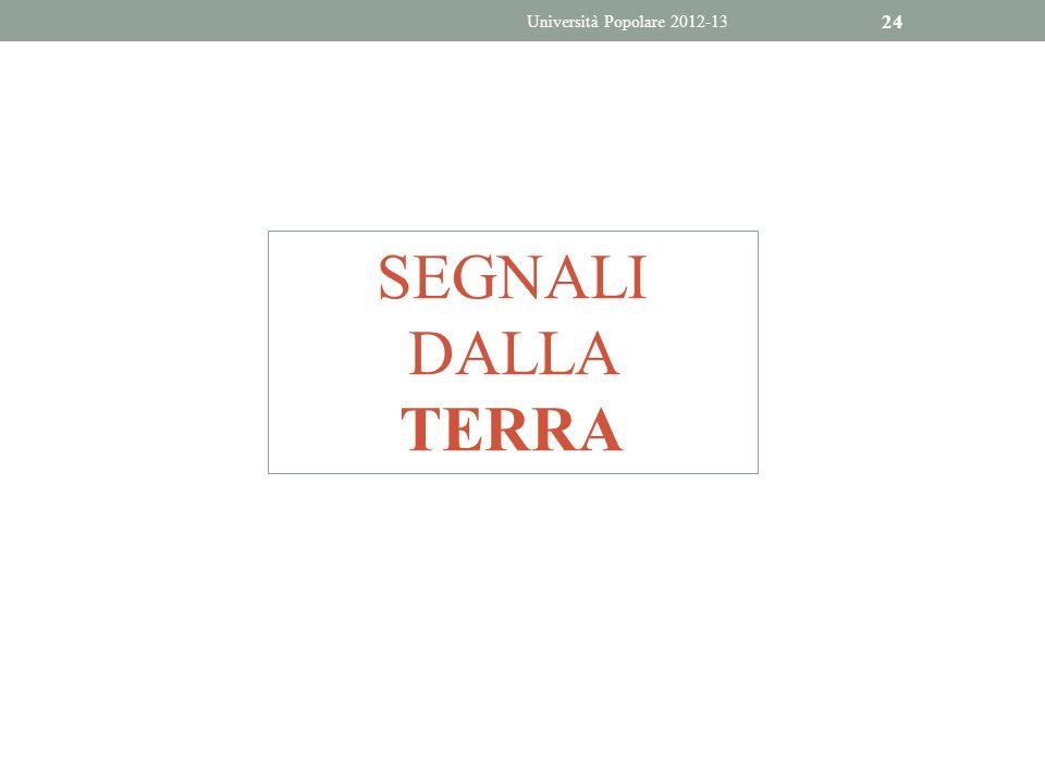 Università Popolare 2012-13 SEGNALI DALLA TERRA