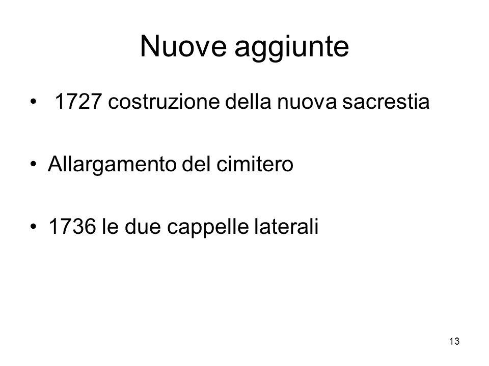 Nuove aggiunte 1727 costruzione della nuova sacrestia