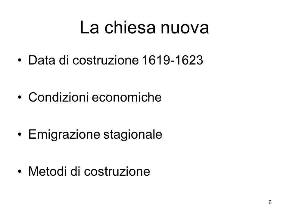 La chiesa nuova Data di costruzione 1619-1623 Condizioni economiche