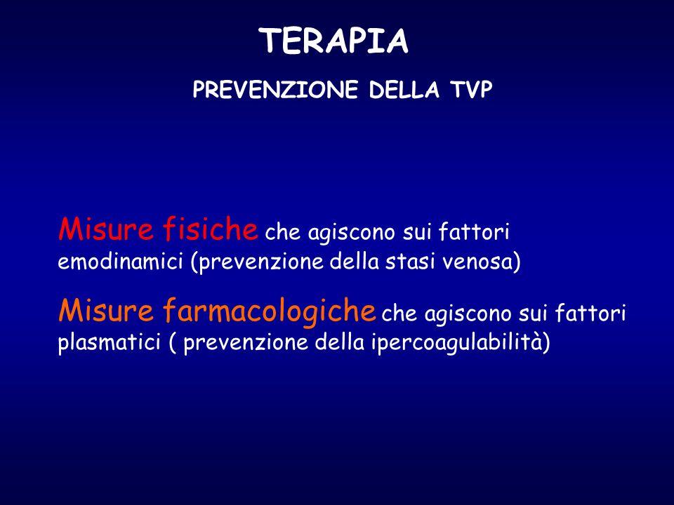 TERAPIA PREVENZIONE DELLA TVP. Misure fisiche che agiscono sui fattori emodinamici (prevenzione della stasi venosa)