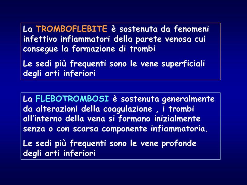 La TROMBOFLEBITE è sostenuta da fenomeni infettivo infiammatori della parete venosa cui consegue la formazione di trombi
