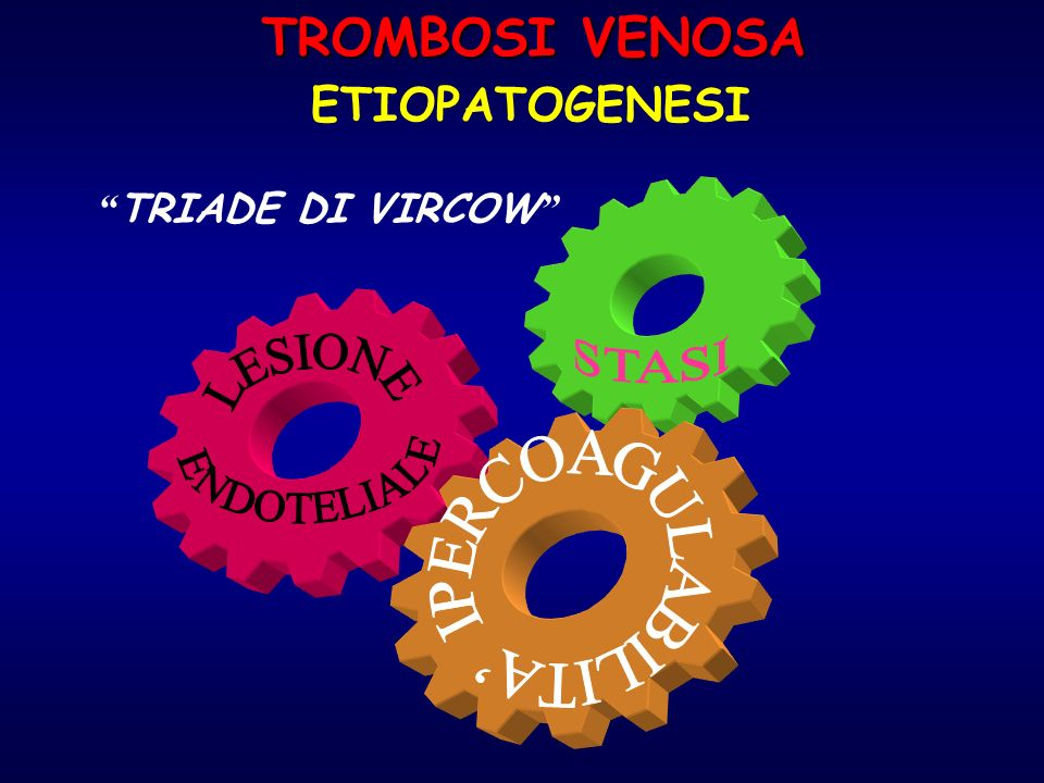 TROMBOSI VENOSA STASI LESIONE ENDOTELIALE ETIOPATOGENESI
