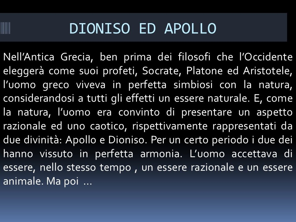 DIONISO ED APOLLO