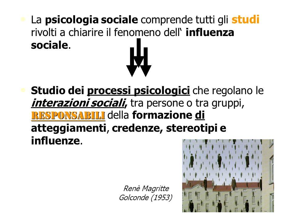 La psicologia sociale comprende tutti gli studi rivolti a chiarire il fenomeno dell' influenza sociale.