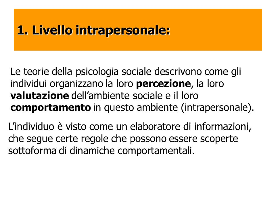 1. Livello intrapersonale: