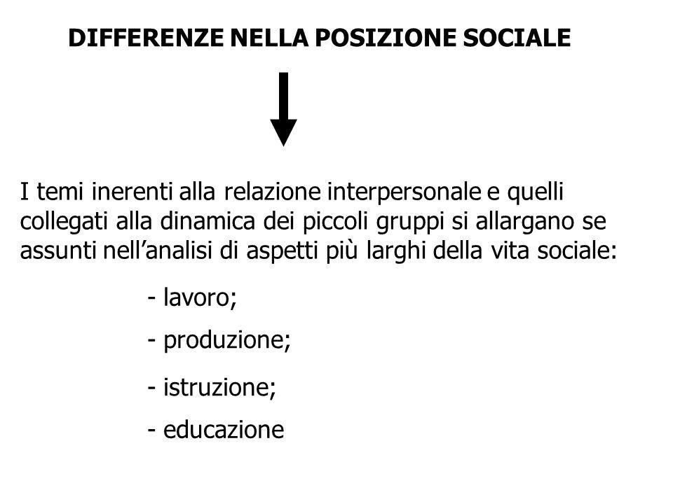 DIFFERENZE NELLA POSIZIONE SOCIALE