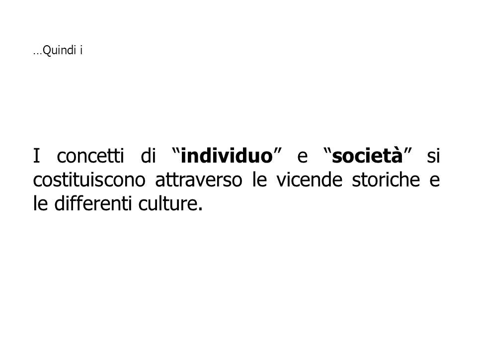 …Quindi iI concetti di individuo e società si costituiscono attraverso le vicende storiche e le differenti culture.