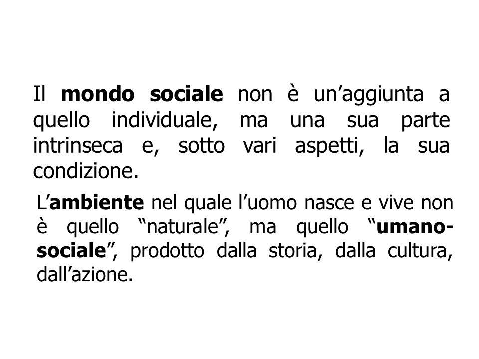 Il mondo sociale non è un'aggiunta a quello individuale, ma una sua parte intrinseca e, sotto vari aspetti, la sua condizione.