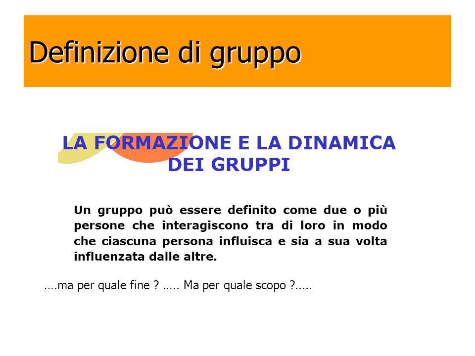 Definizione di gruppo ….ma per quale fine ….. Ma per quale scopo .....