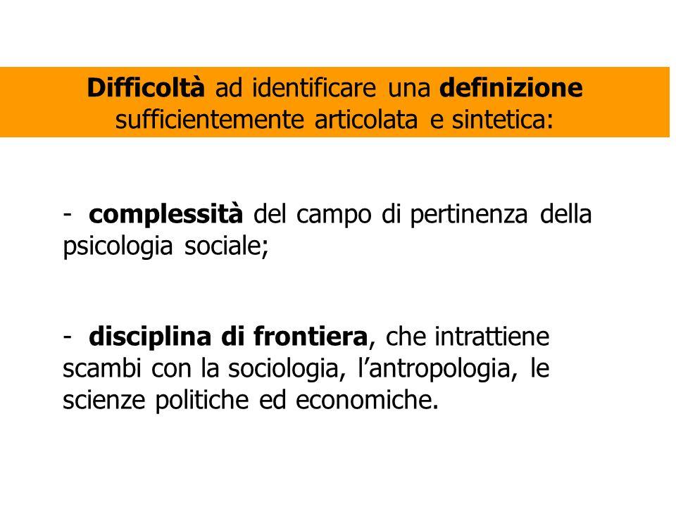 Difficoltà ad identificare una definizione sufficientemente articolata e sintetica: