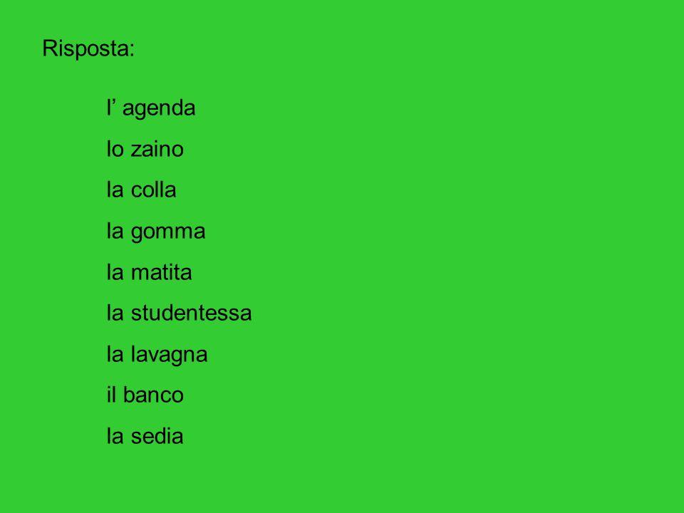Risposta: l' agenda. lo zaino. la colla. la gomma. la matita. la studentessa. la lavagna. il banco.