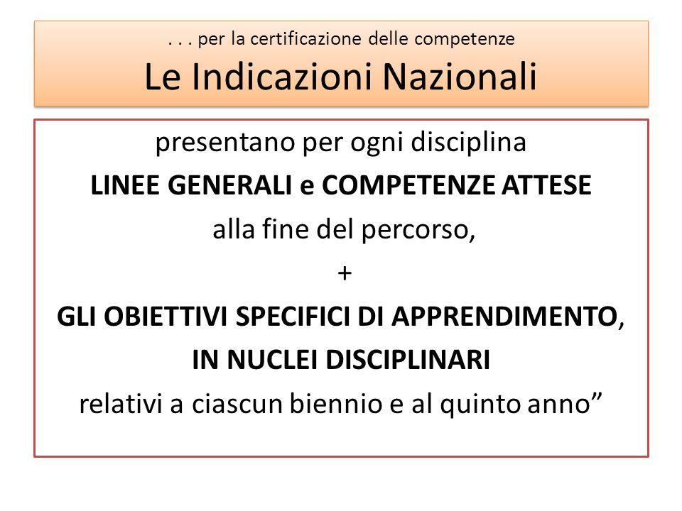 . . . per la certificazione delle competenze Le Indicazioni Nazionali