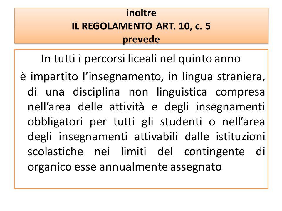 inoltre IL REGOLAMENTO ART. 10, c. 5 prevede