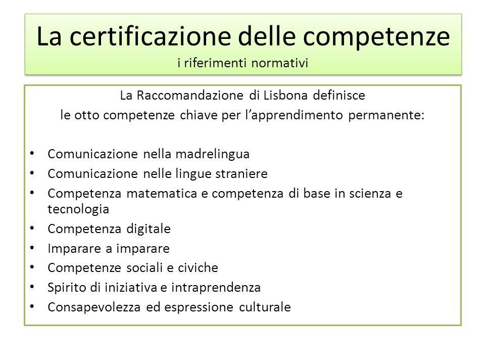 La certificazione delle competenze i riferimenti normativi