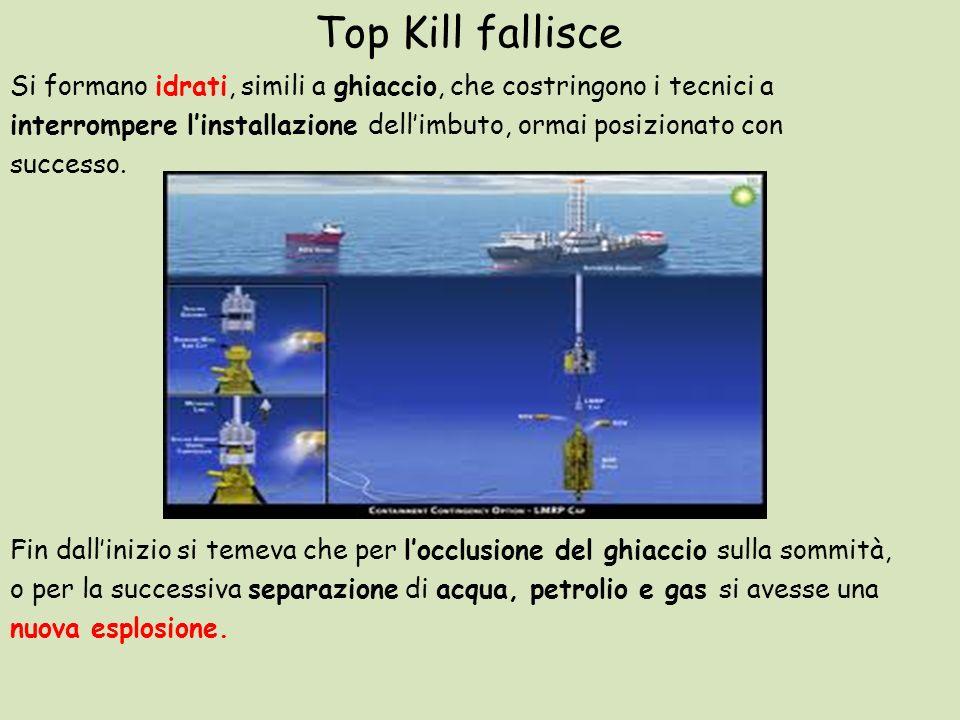 Top Kill fallisce Si formano idrati, simili a ghiaccio, che costringono i tecnici a. interrompere l'installazione dell'imbuto, ormai posizionato con.