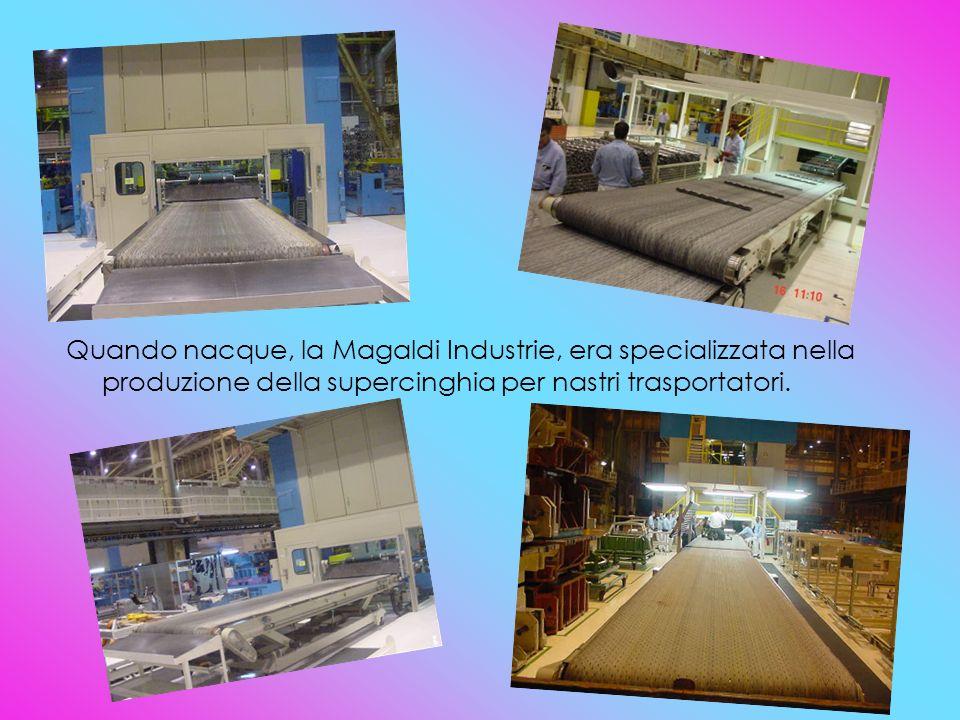 Quando nacque, la Magaldi Industrie, era specializzata nella produzione della supercinghia per nastri trasportatori.
