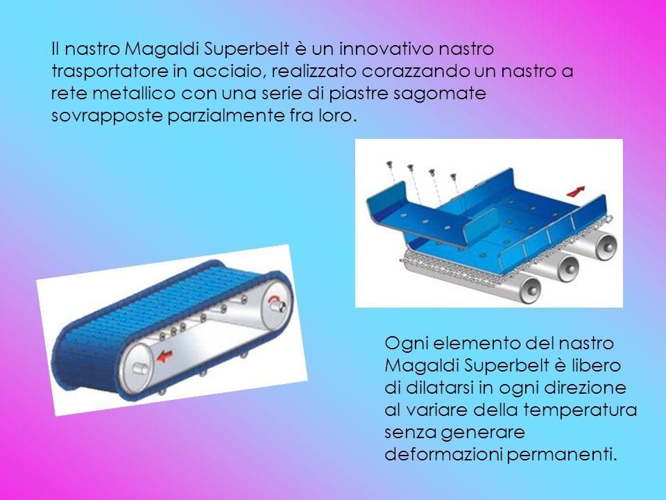 Il nastro Magaldi Superbelt è un innovativo nastro trasportatore in acciaio, realizzato corazzando un nastro a rete metallico con una serie di piastre sagomate sovrapposte parzialmente fra loro.