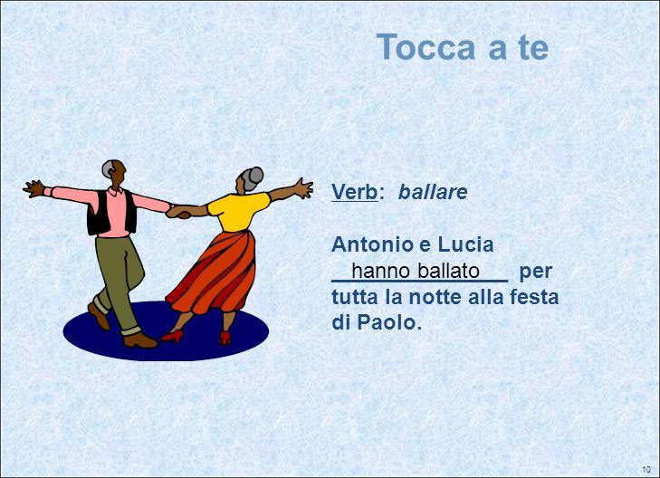 Tocca a te Verb: ballare Antonio e Lucia _______________ per tutta la notte alla festa di Paolo.
