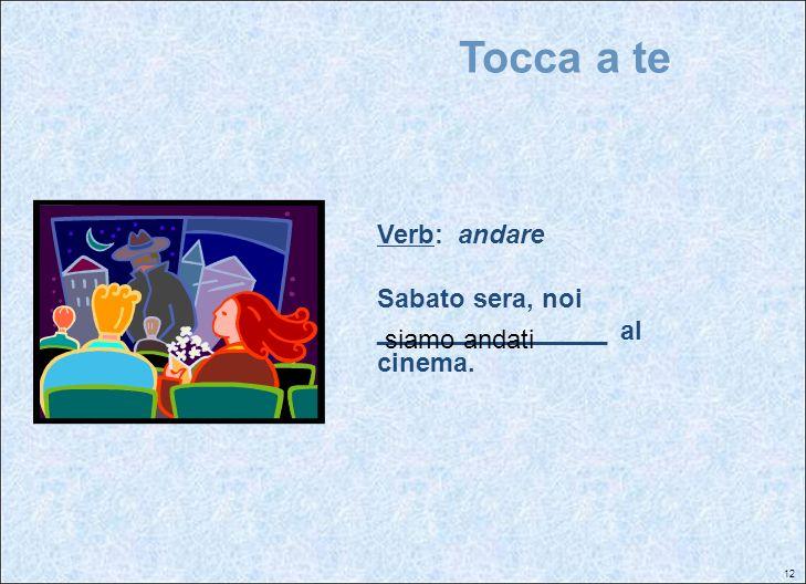 Tocca a te Verb: andare Sabato sera, noi ________________ al cinema.