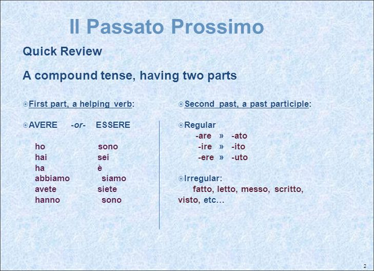 Il Passato Prossimo Quick Review A compound tense, having two parts