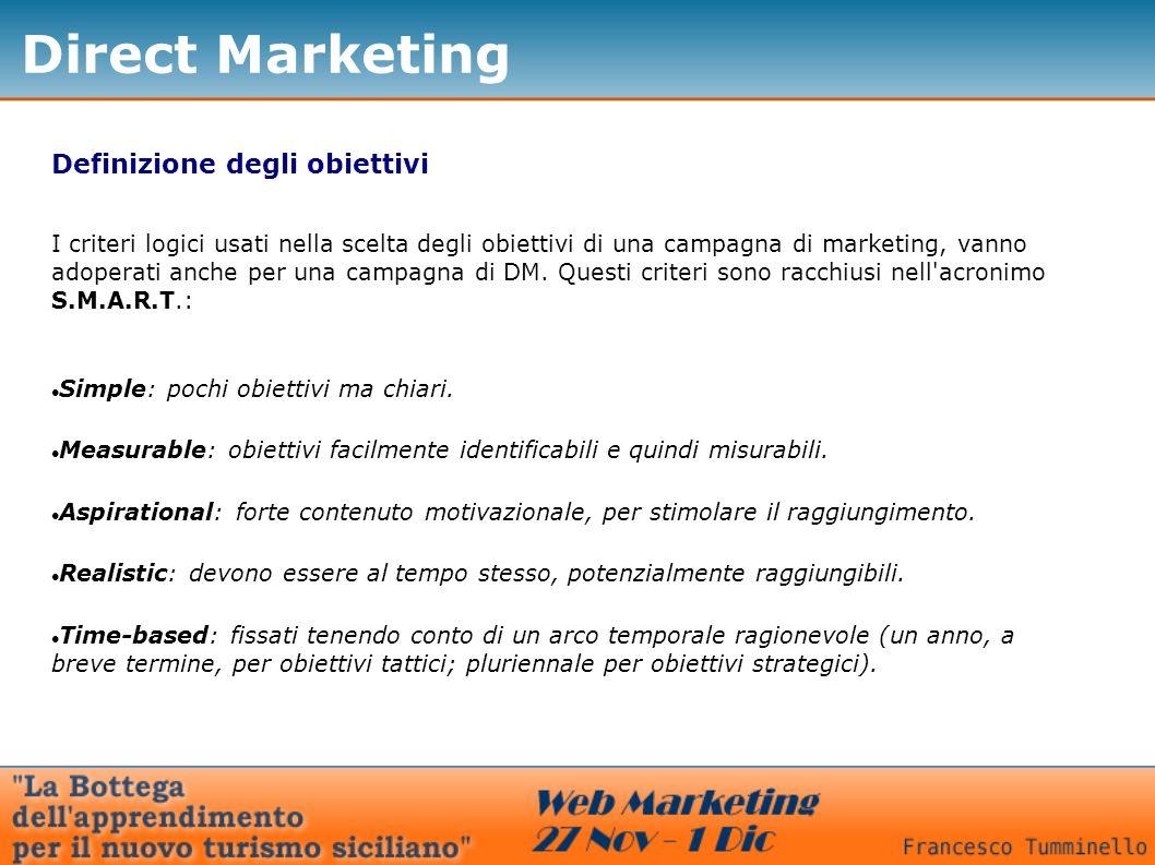 Direct Marketing Definizione degli obiettivi