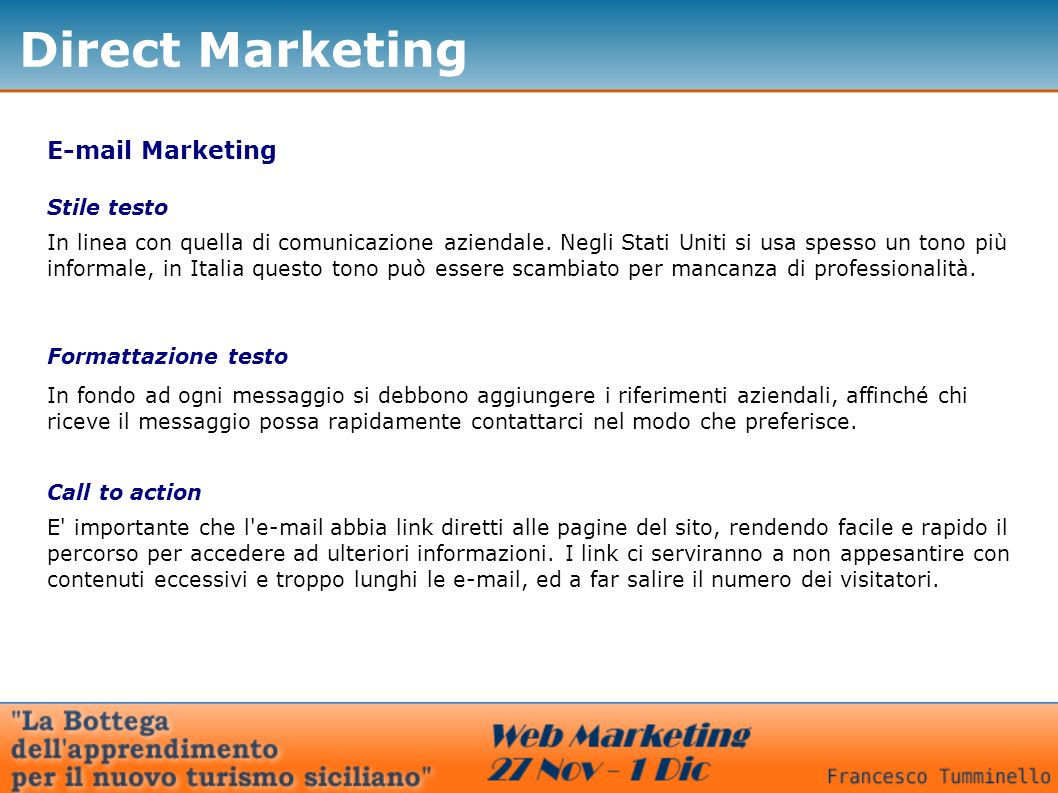 Direct Marketing E-mail Marketing Stile testo