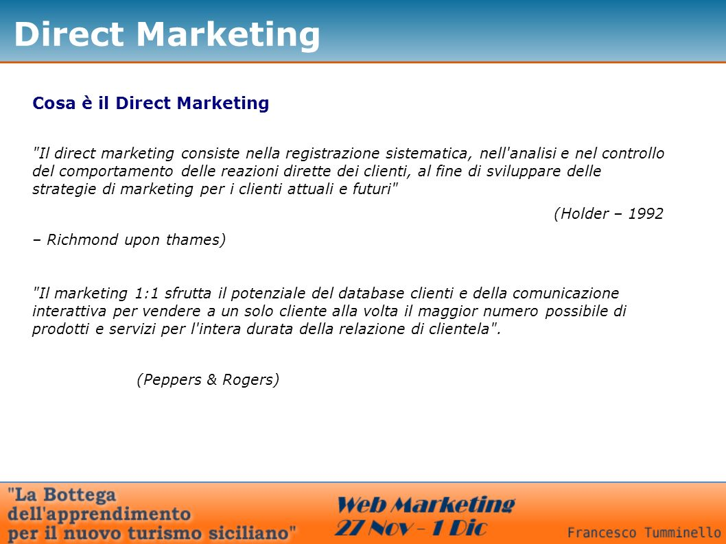 Direct Marketing Cosa è il Direct Marketing