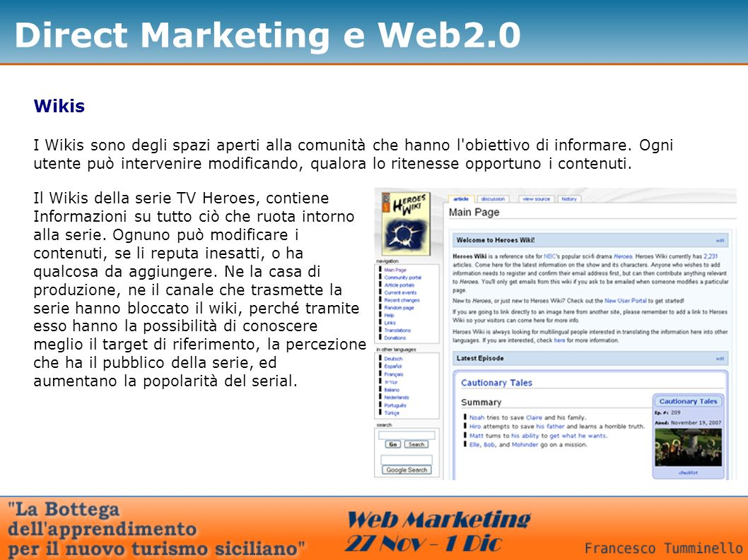 Direct Marketing e Web2.0 Wikis