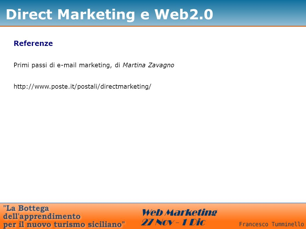 Direct Marketing e Web2.0 Referenze