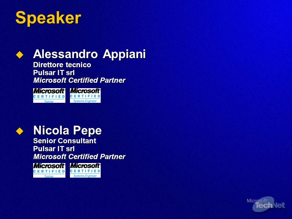 3/25/2017 3:51 AM Speaker. Alessandro Appiani Direttore tecnico Pulsar IT srl Microsoft Certified Partner.